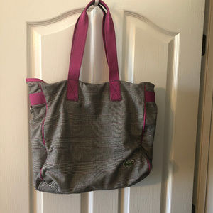 Lacoste Houndstooth Carry All Tote Bag, EUC